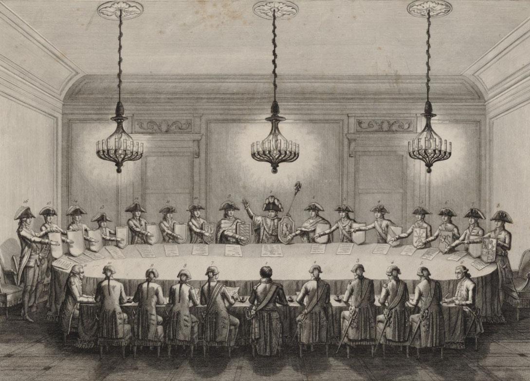Confédération des états du Rhin le 25 juillet 1806 : [estampe], Le Beau. Graveur © Gallica - BnF
